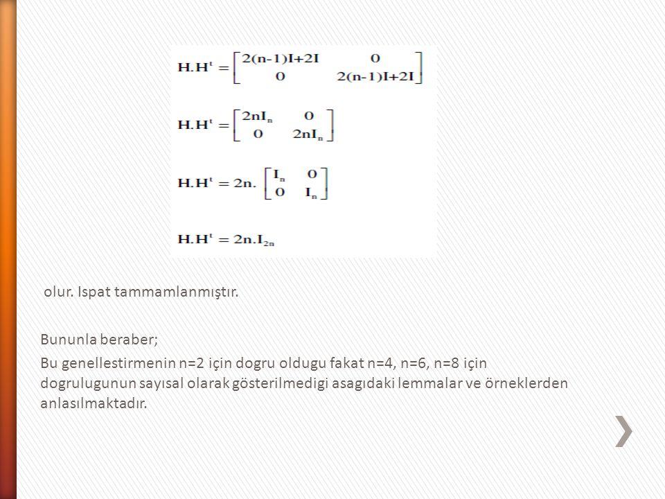 olur. Ispat tammamlanmıştır. Bununla beraber; Bu genellestirmenin n=2 için dogru oldugu fakat n=4, n=6, n=8 için dogrulugunun sayısal olarak gösterilm