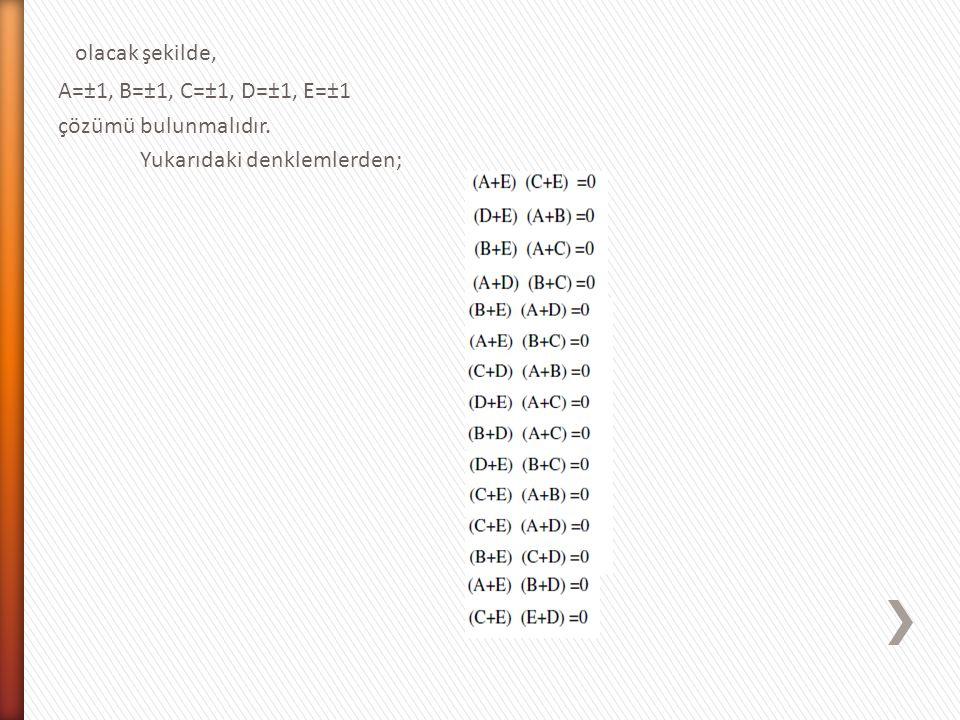 olacak şekilde, A=±1, B=±1, C=±1, D=±1, E=±1 çözümü bulunmalıdır. Yukarıdaki denklemlerden;