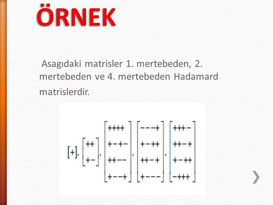 n.mertebeden ve elemanları -1 ile +1'lerden olusan her matris Hadamard matris degildir.