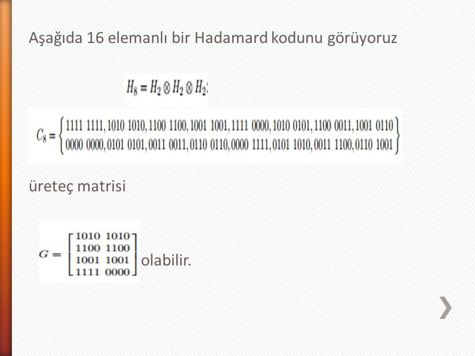 Aşağıda 16 elemanlı bir Hadamard kodunu görüyoruz üreteç matrisi olabilir.