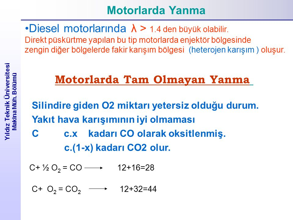Motorlarda Yanma Yıldız Teknik Üniversitesi Makina Müh. Bölümü