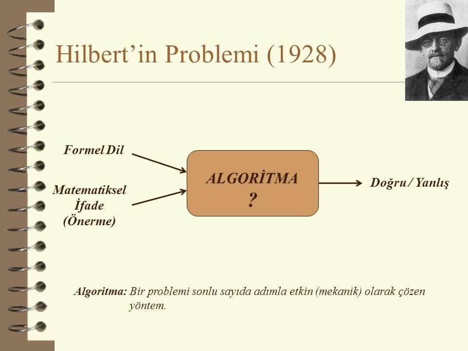 Hilbert'e Kötü Haberler  Aritmetik Sistemlerin Eksikliği (Kurt Gödel) (Incompleteness of Systems of Arithmetic)  (Birinci Dereceden Yüklem) Mantığında Karar Verilmezlik (Alonzo Church) (Undecidability of (First Order) Logic)  Doğruluğun Tanımsızlığı (Alfred Tarski) (Undefinability of Truth)  Fonksiyonların Hesaplanamazlığı / Durma Problemi (Alan Turing) (Uncomputability of Functions / Halting Problem) 4