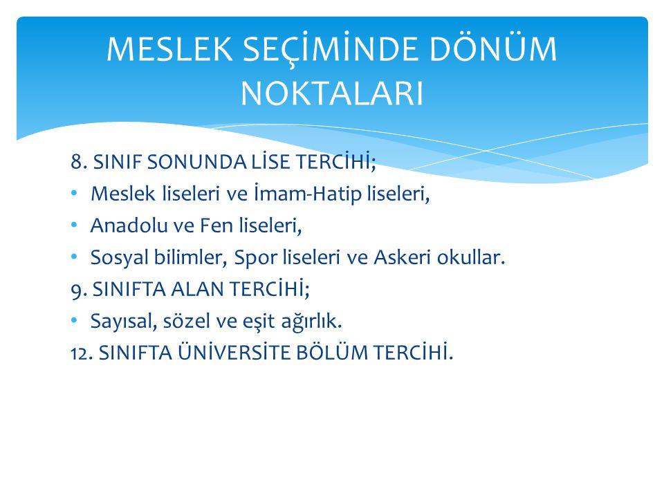 8. SINIF SONUNDA LİSE TERCİHİ; Meslek liseleri ve İmam-Hatip liseleri, Anadolu ve Fen liseleri, Sosyal bilimler, Spor liseleri ve Askeri okullar. 9. S