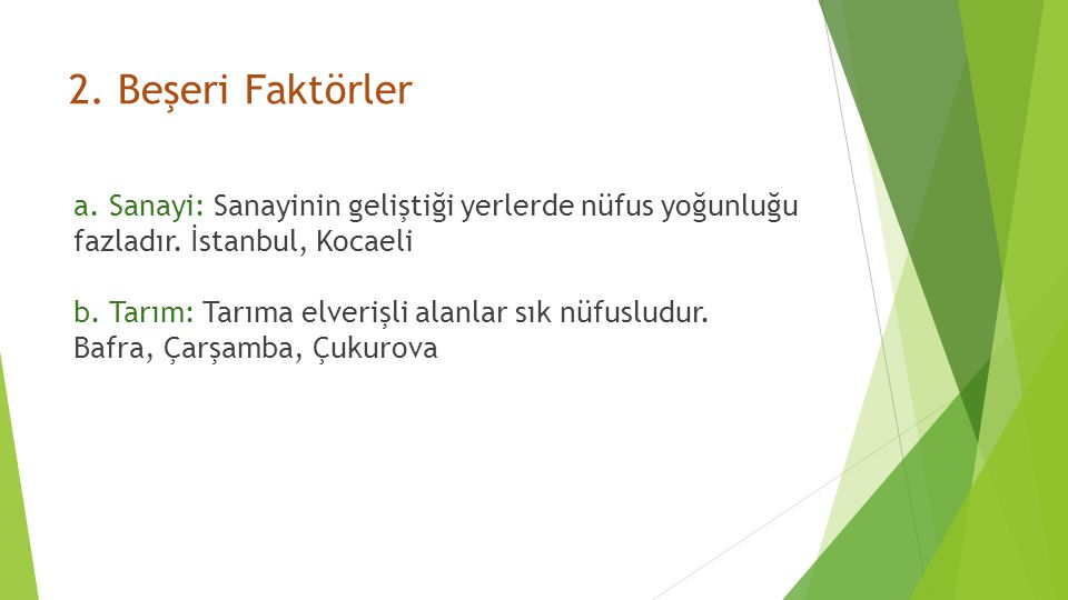 2.Beşeri Faktörler a. Sanayi: Sanayinin geliştiği yerlerde nüfus yoğunluğu fazladır.