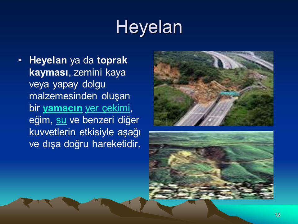 12 Heyelan Heyelan ya da toprak kayması, zemini kaya veya yapay dolgu malzemesinden oluşan bir yamacın yer çekimi, eğim, su ve benzeri diğer kuvvetlerin etkisiyle aşağı ve dışa doğru hareketidir.yamacınyer çekimisu