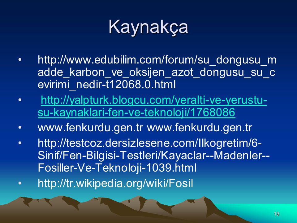 19 Kaynakça http://www.edubilim.com/forum/su_dongusu_m adde_karbon_ve_oksijen_azot_dongusu_su_c evirimi_nedir-t12068.0.html http://yalpturk.blogcu.com/yeralti-ve-yerustu- su-kaynaklari-fen-ve-teknoloji/1768086http://yalpturk.blogcu.com/yeralti-ve-yerustu- su-kaynaklari-fen-ve-teknoloji/1768086 www.fenkurdu.gen.tr http://testcoz.dersizlesene.com/Ilkogretim/6- Sinif/Fen-Bilgisi-Testleri/Kayaclar--Madenler-- Fosiller-Ve-Teknoloji-1039.html http://tr.wikipedia.org/wiki/Fosil