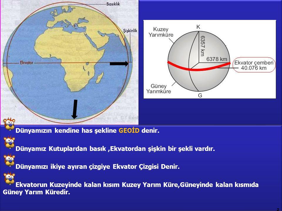 Dünyamızın kendine has şekline GEOİD denir. Dünyamız Kutuplardan basık,Ekvatordan şişkin bir şekli vardır. Dünyamızı ikiye ayıran çizgiye Ekvator Çizg