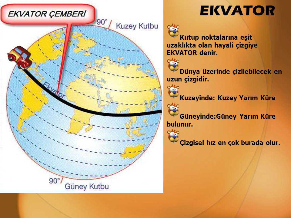 Kutup noktalarına eşit uzaklıkta olan hayali çizgiye EKVATOR denir. Dünya üzerinde çizilebilecek en uzun çizgidir. Kuzeyinde: Kuzey Yarım Küre Güneyin