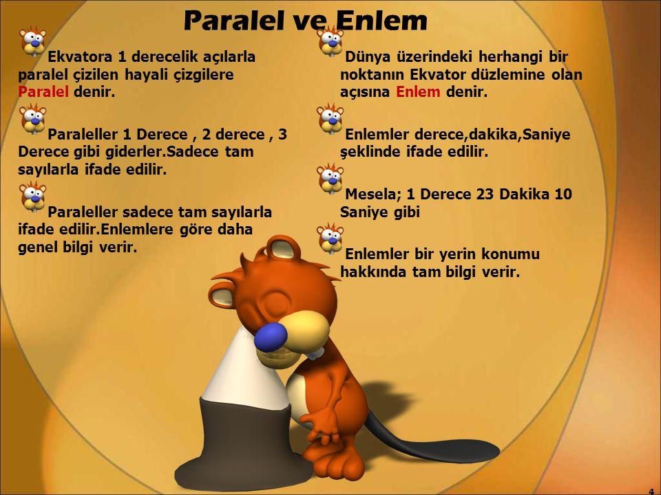 Paralel ve Enlem Ekvatora 1 derecelik açılarla paralel çizilen hayali çizgilere Paralel denir. Paraleller 1 Derece, 2 derece, 3 Derece gibi giderler.S