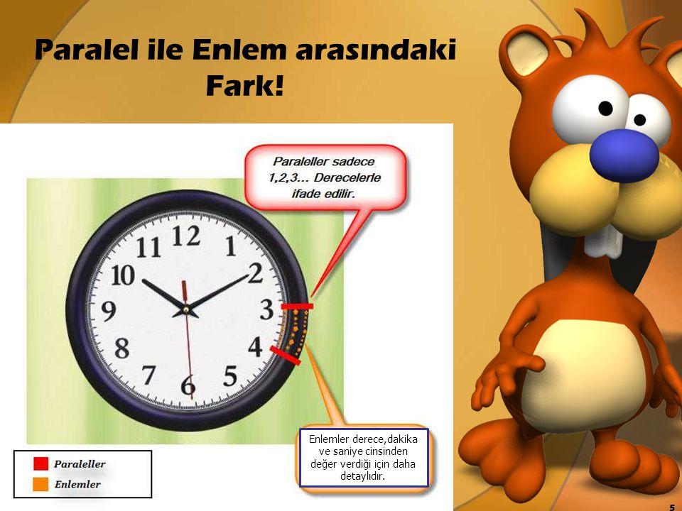 Paralel ile Enlem arasındaki Fark! Enlemler derece,dakika ve saniye cinsinden değer verdiği için daha detaylıdır. 5