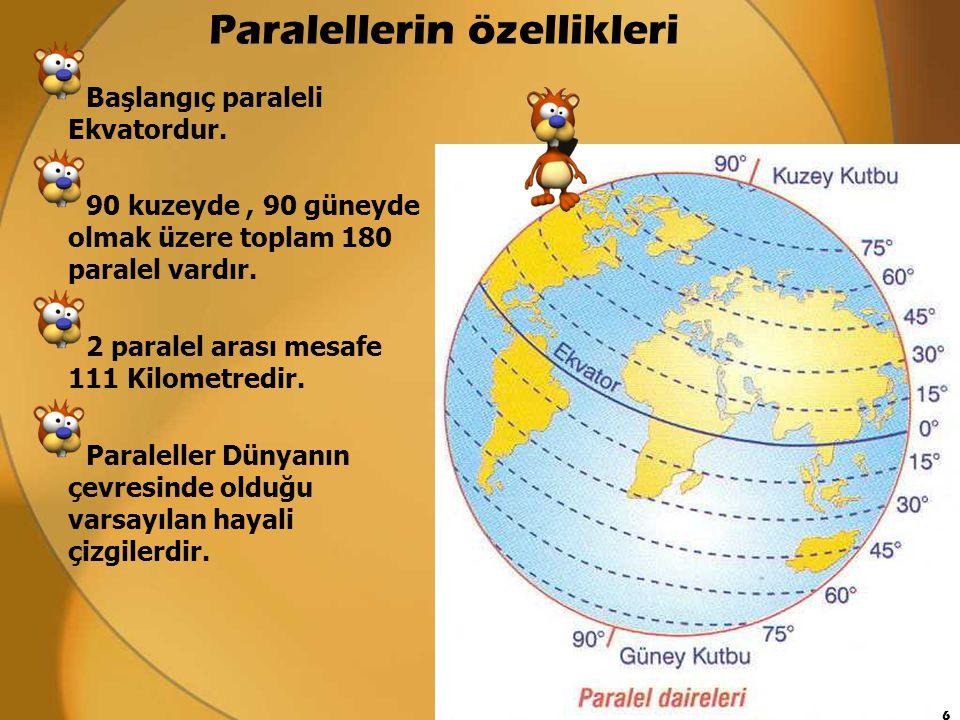 Paralellerin özellikleri Ba ş langıç paraleli Ekvatordur. 90 kuzeyde, 90 güneyde olmak üzere toplam 180 paralel vardır. 2 paralel arası mesafe 111 Kil