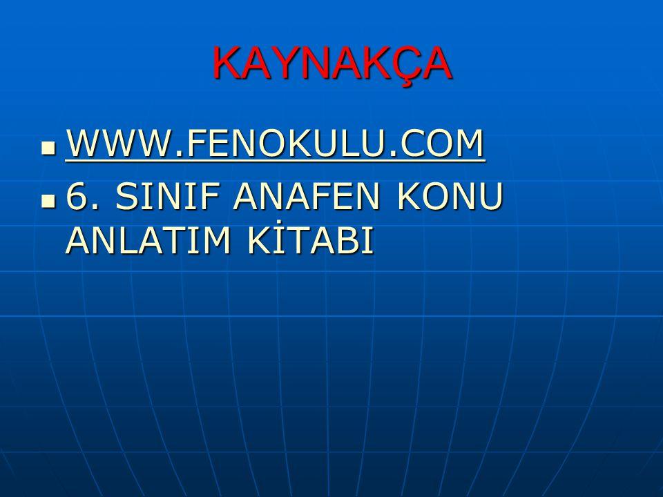 KAYNAKÇA WWW.FENOKULU.COM WWW.FENOKULU.COM WWW.FENOKULU.COM 6. SINIF ANAFEN KONU ANLATIM KİTABI 6. SINIF ANAFEN KONU ANLATIM KİTABI