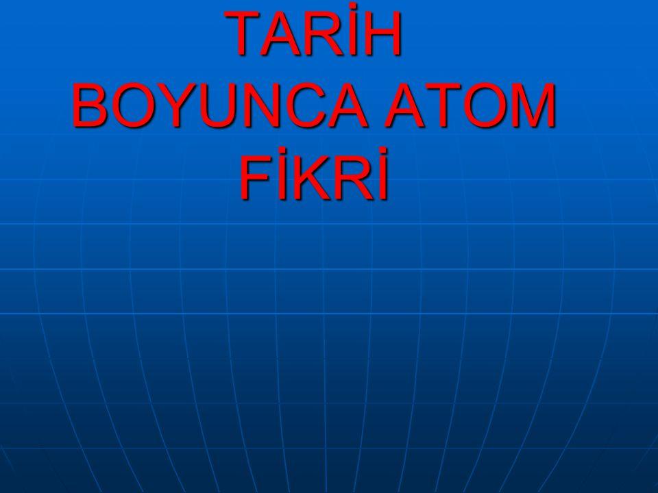 MİLATTAN ÖNCE ATOM FİKRİ Atom hakkında ilk görüş M.Ö.