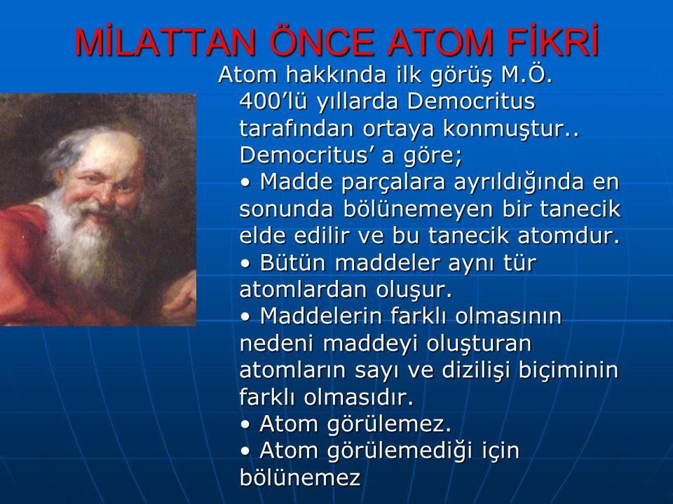 MİLATTAN ÖNCE ATOM FİKRİ Atom hakkında ilk görüş M.Ö. 400'lü yıllarda Democritus tarafından ortaya konmuştur.. Democritus' a göre; Madde parçalara ayr