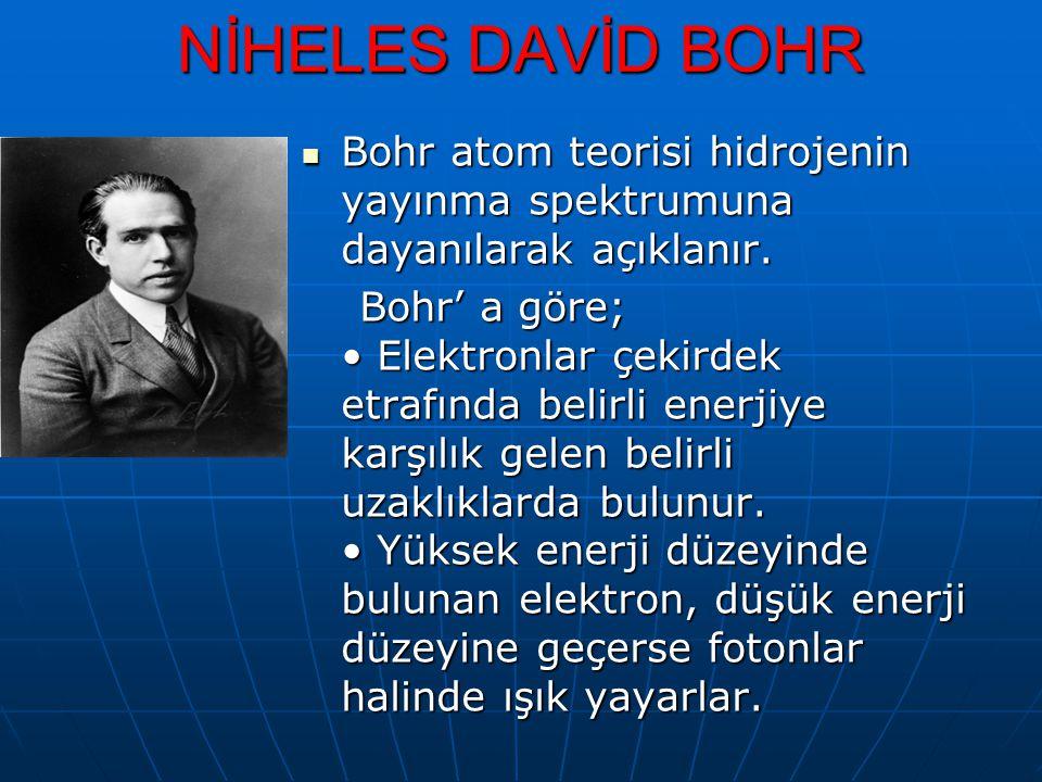 NİHELES DAVİD BOHR Bohr atom teorisi hidrojenin yayınma spektrumuna dayanılarak açıklanır. Bohr atom teorisi hidrojenin yayınma spektrumuna dayanılara