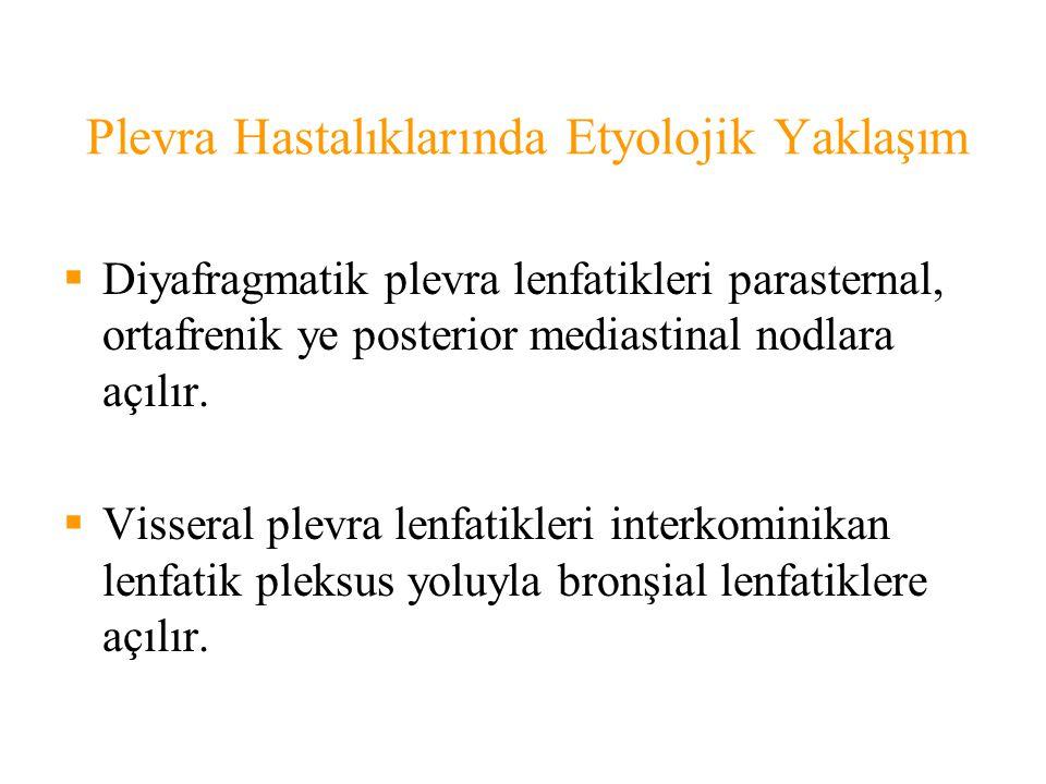 Plevra Hastalıklarında Etyolojik Yaklaşım  Diyafragmatik plevra lenfatikleri parasternal, ortafrenik ye posterior mediastinal nodlara açılır.