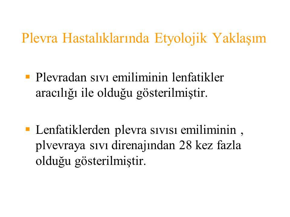 Plevra Hastalıklarında Etyolojik Yaklaşım  Plevradan sıvı emiliminin lenfatikler aracılığı ile olduğu gösterilmiştir.