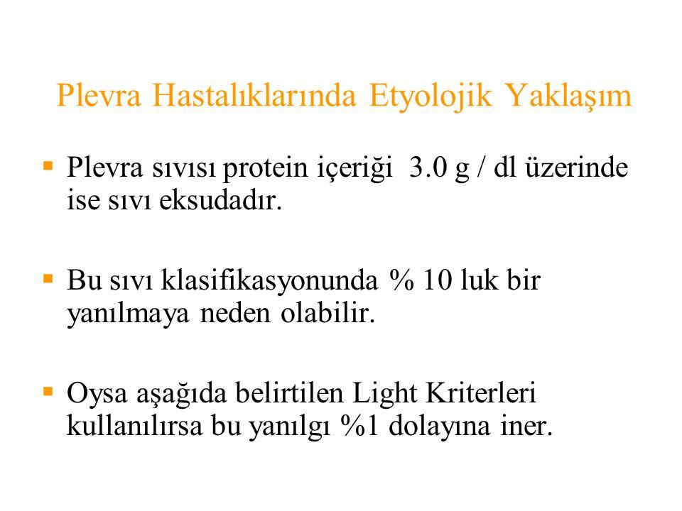 Plevra Hastalıklarında Etyolojik Yaklaşım  Plevra sıvısı protein içeriği 3.0 g / dl üzerinde ise sıvı eksudadır.