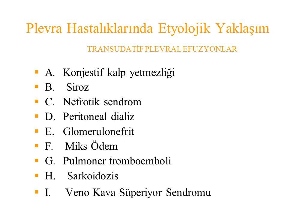 Plevra Hastalıklarında Etyolojik Yaklaşım TRANSUDATİF PLEVRAL EFUZYONLAR  A.Konjestif kalp yetmezliği  B.