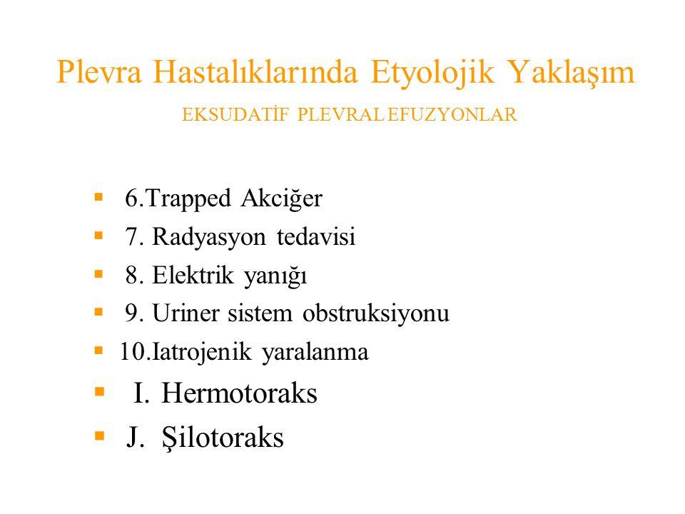 Plevra Hastalıklarında Etyolojik Yaklaşım EKSUDATİF PLEVRAL EFUZYONLAR  6.Trapped Akciğer  7.