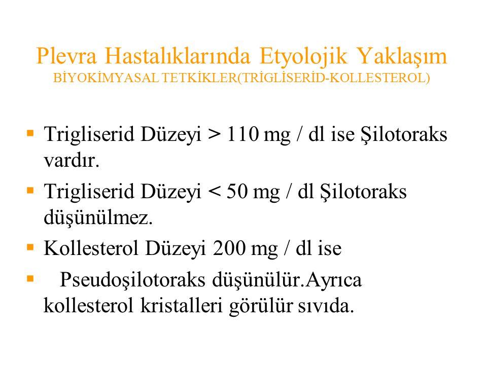Plevra Hastalıklarında Etyolojik Yaklaşım BİYOKİMYASAL TETKİKLER(TRİGLİSERİD-KOLLESTEROL)  Trigliserid Düzeyi > 110 mg / dl ise Şilotoraks vardır.