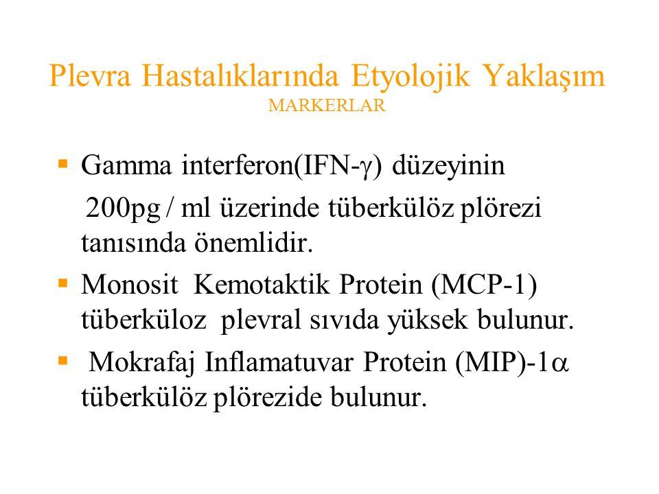 Plevra Hastalıklarında Etyolojik Yaklaşım MARKERLAR  Gamma interferon(IFN-  ) düzeyinin 200pg / ml üzerinde tüberkülöz plörezi tanısında önemlidir.