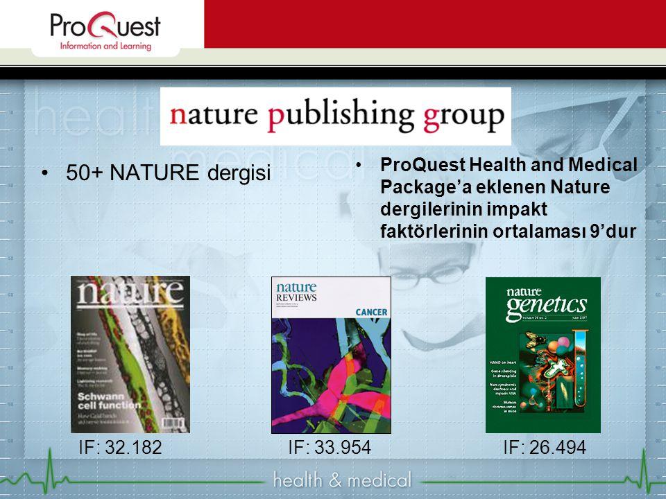 50+ NATURE dergisi ProQuest Health and Medical Package'a eklenen Nature dergilerinin impakt faktörlerinin ortalaması 9'dur IF: 32.182IF: 33.954IF: 26.