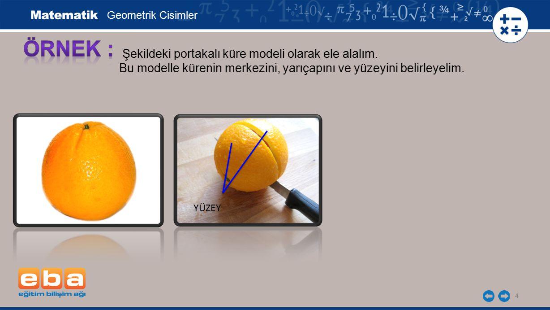 4 Şekildeki portakalı küre modeli olarak ele alalım. Bu modelle kürenin merkezini, yarıçapını ve yüzeyini belirleyelim. Geometrik Cisimler YÜZEY