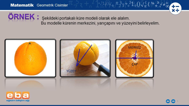 5 Şekildeki portakalı küre modeli olarak ele alalım. Bu modelle kürenin merkezini, yarıçapını ve yüzeyini belirleyelim. Geometrik Cisimler YÜZEY MERKE