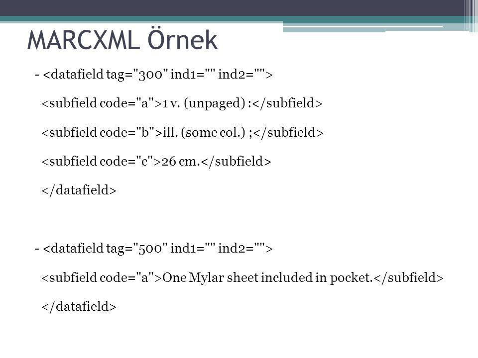 MARCXML Örnek - 1 v. (unpaged) : ill. (some col.) ; 26 cm. - One Mylar sheet included in pocket.