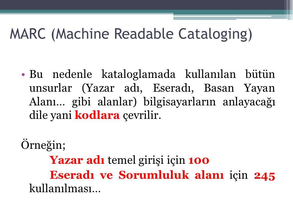 MARC (Machine Readable Cataloging) Bu nedenle kataloglamada kullanılan bütün unsurlar (Yazar adı, Eseradı, Basan Yayan Alanı… gibi alanlar) bilgisayar