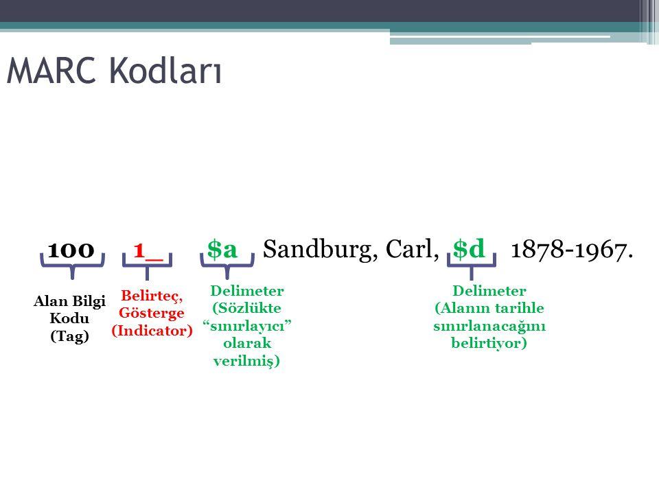 """MARC Kodları 100 1_ $a Sandburg, Carl, $d 1878-1967. Alan Bilgi Kodu (Tag) Belirteç, Gösterge (Indicator) Delimeter (Sözlükte """"sınırlayıcı"""" olarak ver"""