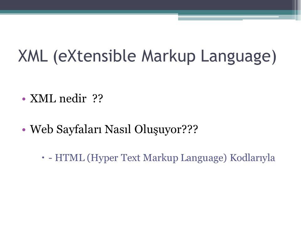 XML (eXtensible Markup Language) XML nedir ?? Web Sayfaları Nasıl Oluşuyor???  - HTML (Hyper Text Markup Language) Kodlarıyla