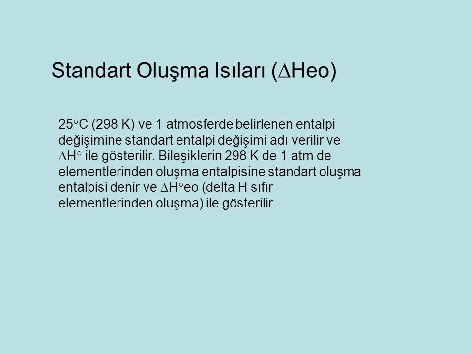 25  C (298 K) ve 1 atmosferde belirlenen entalpi değişimine standart entalpi değişimi adı verilir ve  H  ile gösterilir. Bileşiklerin 298 K de 1 at