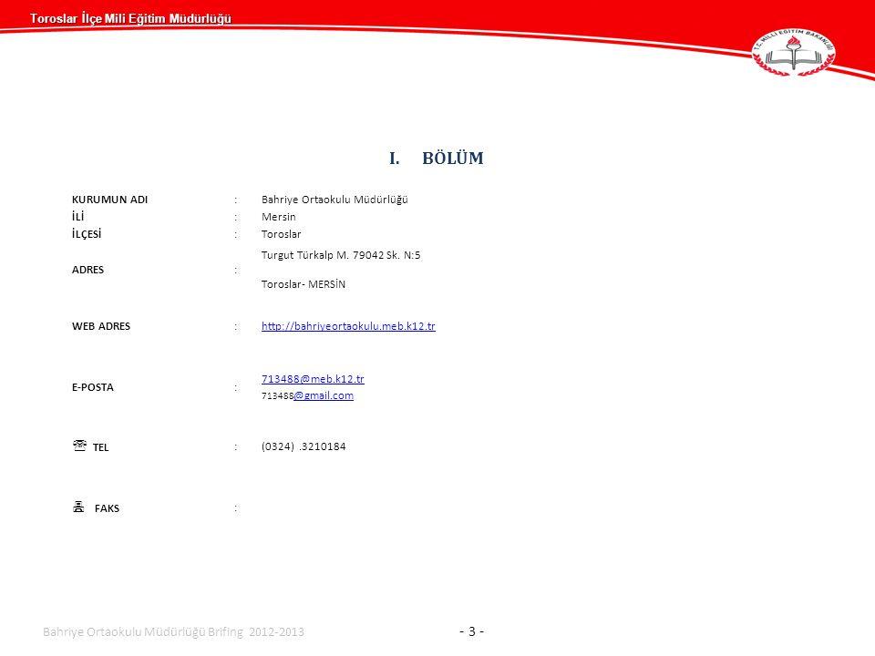 Toroslar İlçe Mili Eğitim Müdürlüğü Bahriye Ortaokulu M üdürlüğü Brifing 2012-2013 - 14 -...........