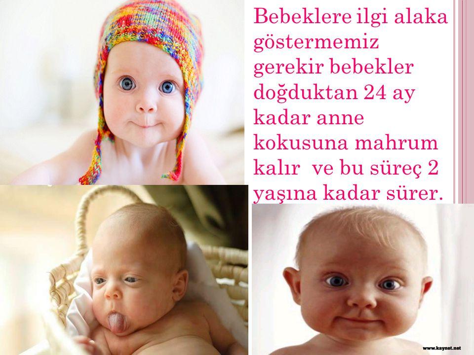 Bebeklere ilgi alaka göstermemiz gerekir bebekler doğduktan 24 ay kadar anne kokusuna mahrum kalır ve bu süreç 2 yaşına kadar sürer.