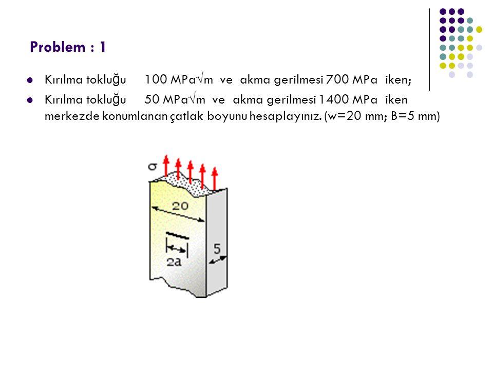 Problem : 1 Kırılma toklu ğ u 100 MPa√m ve akma gerilmesi 700 MPa iken; Kırılma toklu ğ u 50 MPa√m ve akma gerilmesi 1400 MPa iken merkezde konumlanan