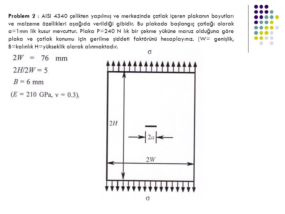 Problem 2 : AISI 4340 çelikten yapılmış ve merkezinde çatlak içeren plakanın boyutları ve malzeme özellikleri aşa ğ ıda verildi ğ i gibidir. Bu plakad