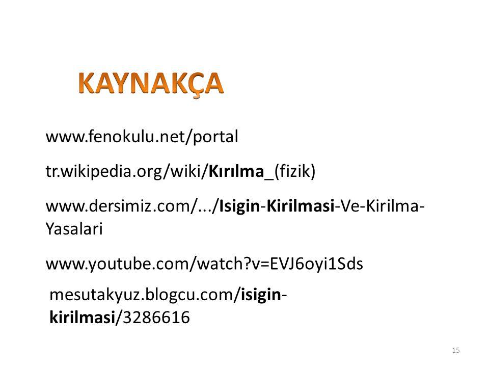 www.fenokulu.net/portal tr.wikipedia.org/wiki/Kırılma_(fizik) www.dersimiz.com/.../Isigin-Kirilmasi-Ve-Kirilma- Yasalari mesutakyuz.blogcu.com/isigin-