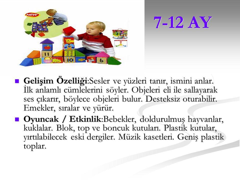4-6 AY 4-6 AY Gelişim Özelliği:Aile bireylerini tanır. Birisini konuşurken dikkatle dinler. Sesleri taklit eder. El ve ayaklarını keşfeder. Her şeyi a