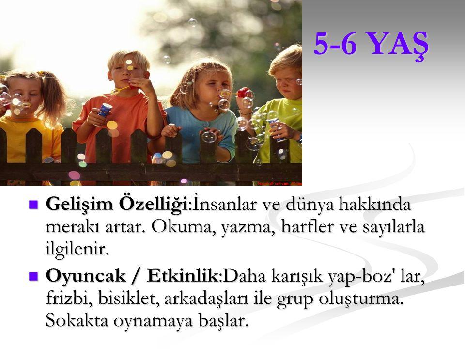 3,5-5 YAŞ 3,5-5 YAŞ Gelişim Özelliği:Dikkatini daha uzun süre toplar. Ana dilini gürültülü ve komik bir şekilde kullanır. Arkadaşları ile oynamaktan z