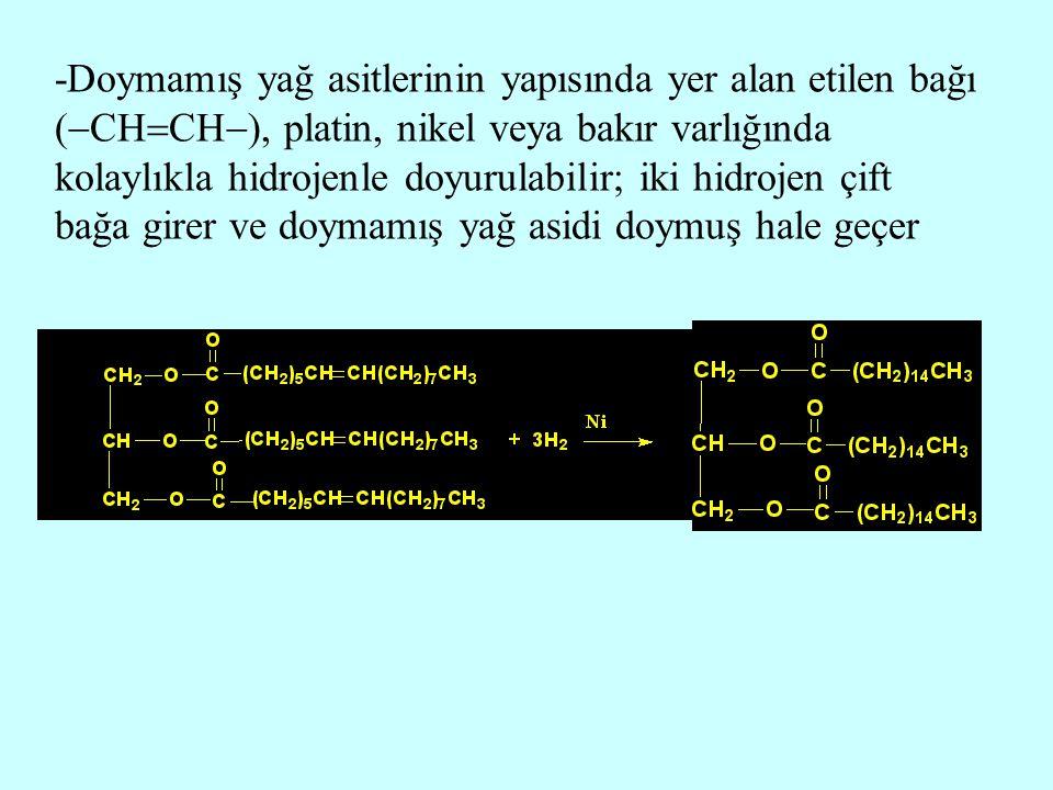 -Doymamış yağ asitlerinin yapısında yer alan etilen bağı (  CH  CH  ), platin, nikel veya bakır varlığında kolaylıkla hidrojenle doyurulabilir; iki