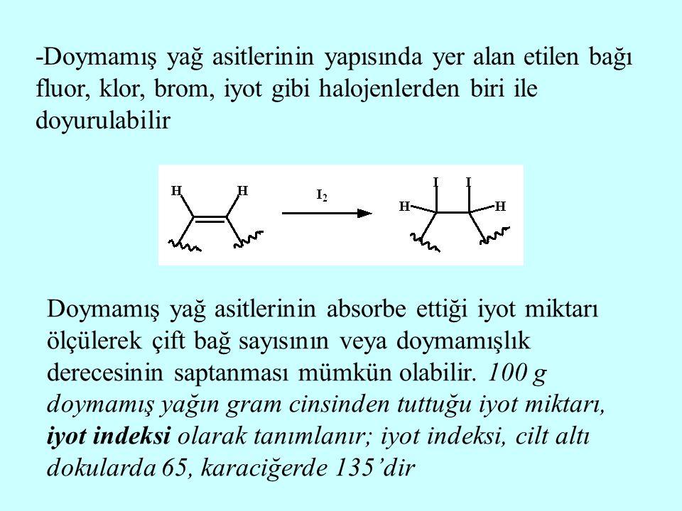 -Doymamış yağ asitlerinin yapısında yer alan etilen bağı fluor, klor, brom, iyot gibi halojenlerden biri ile doyurulabilir Doymamış yağ asitlerinin ab