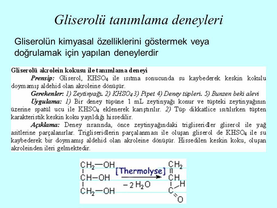 Gliserolü tanımlama deneyleri Gliserolün kimyasal özelliklerini göstermek veya doğrulamak için yapılan deneylerdir