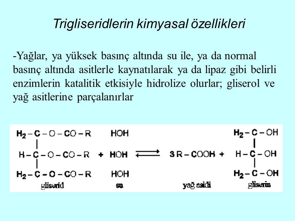 Trigliseridlerin kimyasal özellikleri -Yağlar, ya yüksek basınç altında su ile, ya da normal basınç altında asitlerle kaynatılarak ya da lipaz gibi be