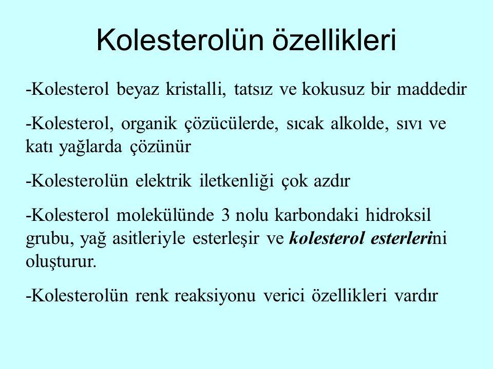 Kolesterolün özellikleri -Kolesterol beyaz kristalli, tatsız ve kokusuz bir maddedir -Kolesterol, organik çözücülerde, sıcak alkolde, sıvı ve katı yağ