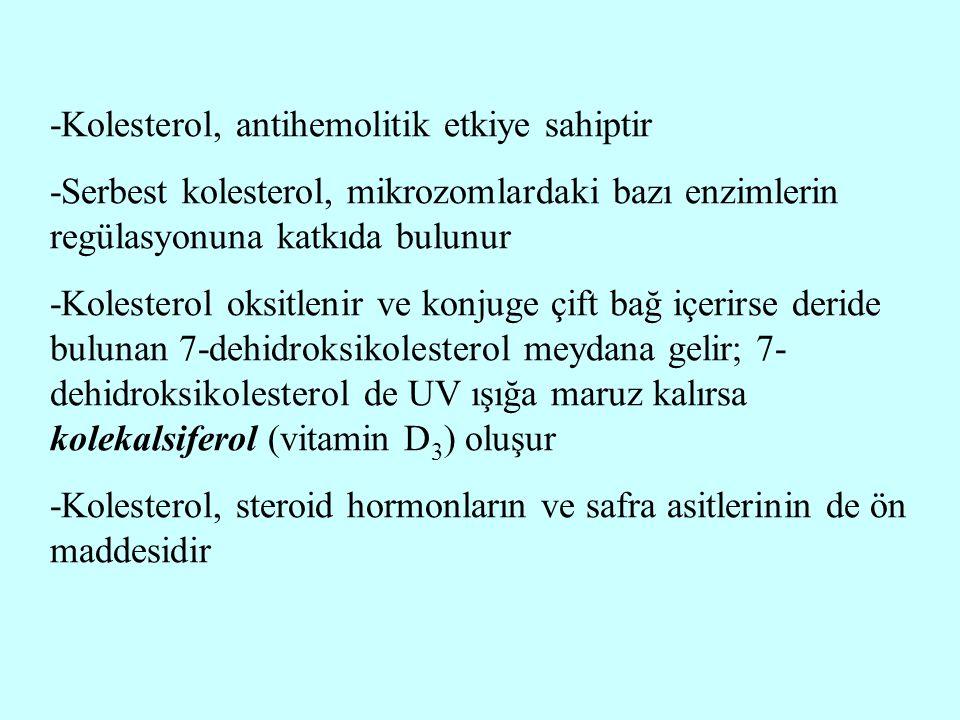 -Kolesterol, antihemolitik etkiye sahiptir -Serbest kolesterol, mikrozomlardaki bazı enzimlerin regülasyonuna katkıda bulunur -Kolesterol oksitlenir v