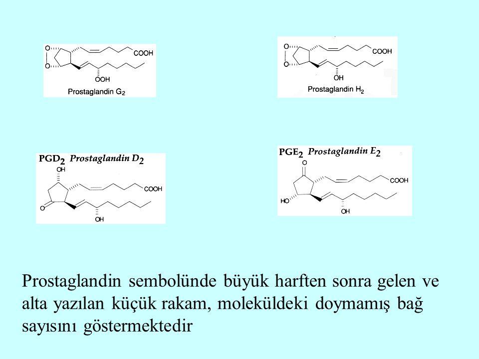 Prostaglandin sembolünde büyük harften sonra gelen ve alta yazılan küçük rakam, moleküldeki doymamış bağ sayısını göstermektedir