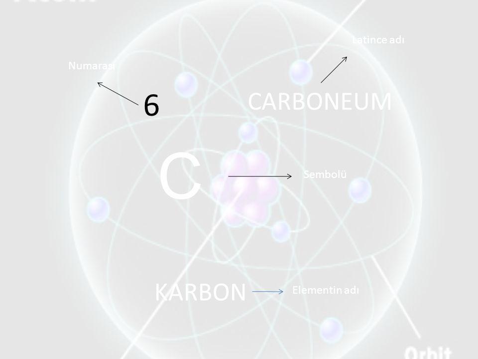 6 KARBON CARBONEUM Numarası Latince adı Sembolü Elementin adı C