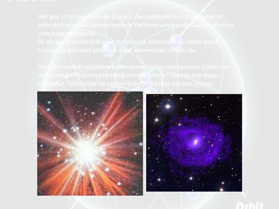 Her şey 13 milyar yıl önce başladı. Gerçekleşen büyük patlamanın ardından evren oluşmaya başladı. Patlama sonucunda oluşan atomlar uzay boyunca saçıld